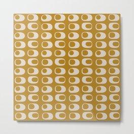 Googie Midcentury Minimalist Pattern in Gold Metal Print
