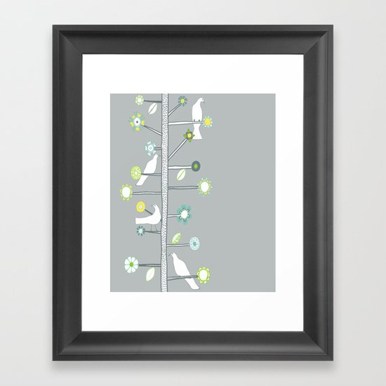 Birds and flowers Framed Art Print