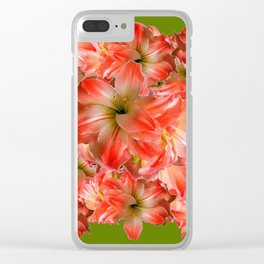 Peppermint Color Amaryllis Flower Avocado Pattern Clear iPhone Case