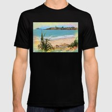 Beach view with seagulls Black Mens Fitted Tee MEDIUM