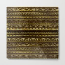 Golden Tribal Pattern on Dark wood Metal Print
