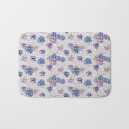 Hydrangeas and French Script with birds on gray background Bath Mat