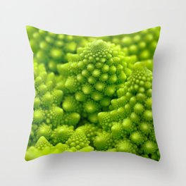Macro Romanesco Broccoli Throw Pillow