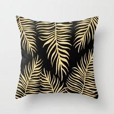 Fern Pattern Gold On Black Background Throw Pillow