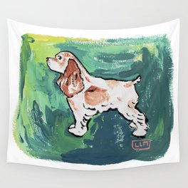 Cavalier King Charles Spaniel Dog Painting on Victorian Green Wall Tapestry