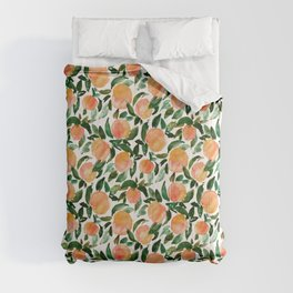 GEORGIA PEACHES Watercolor Peach Print Comforters