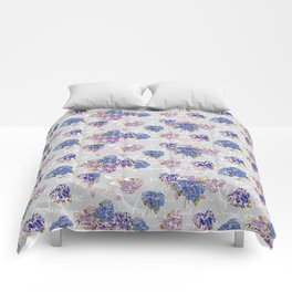 Hydrangeas and French Script with birds on gray background Comforters