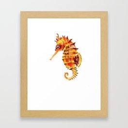 Seahorse decor orange red beach house design Framed Art Print