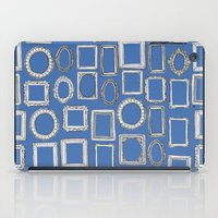 frames iPad Cases featuring picture frames blue by Sharon Turner