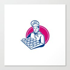 baker serving tray of pork meat pies retro Canvas Print