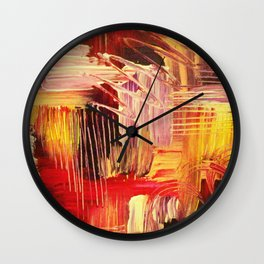RHAPSODY IN MAGENTA- Beautiful BOLD Modern Abstract Wild Acrylic Painting Crimson Hot Pink Purple Wall Clock