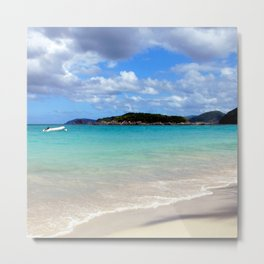 Watercolor Landscape Cinnamon Bay Beach 02, This is the Life! Metal Print