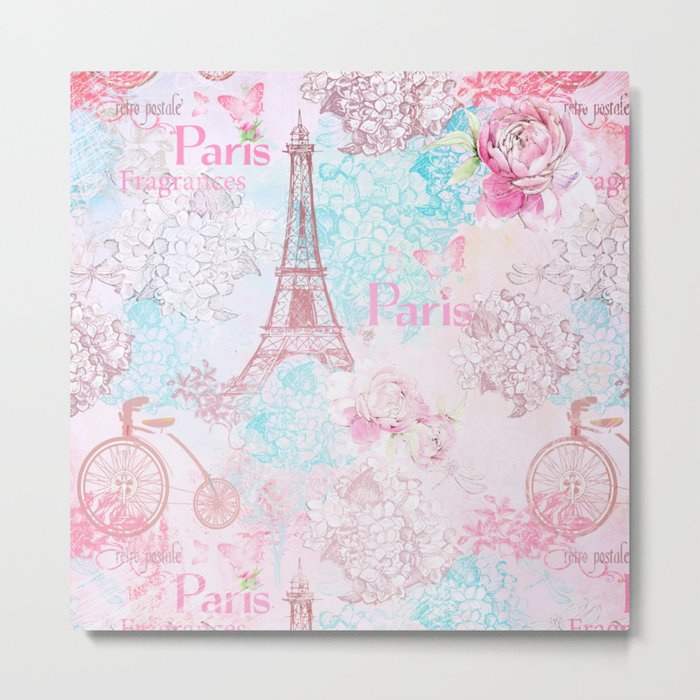 I love Paris- Vintage  Shabby Chic in pink - Eiffeltower France Flowers Floral Metal Print
