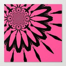 The Modern Flower Pink & Black Canvas Print
