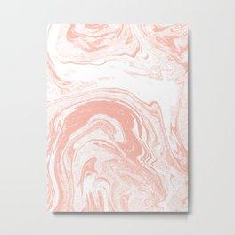 Marble pink 4 Suminagashi watercolor pattern art pisces water wave ocean minimal design Metal Print