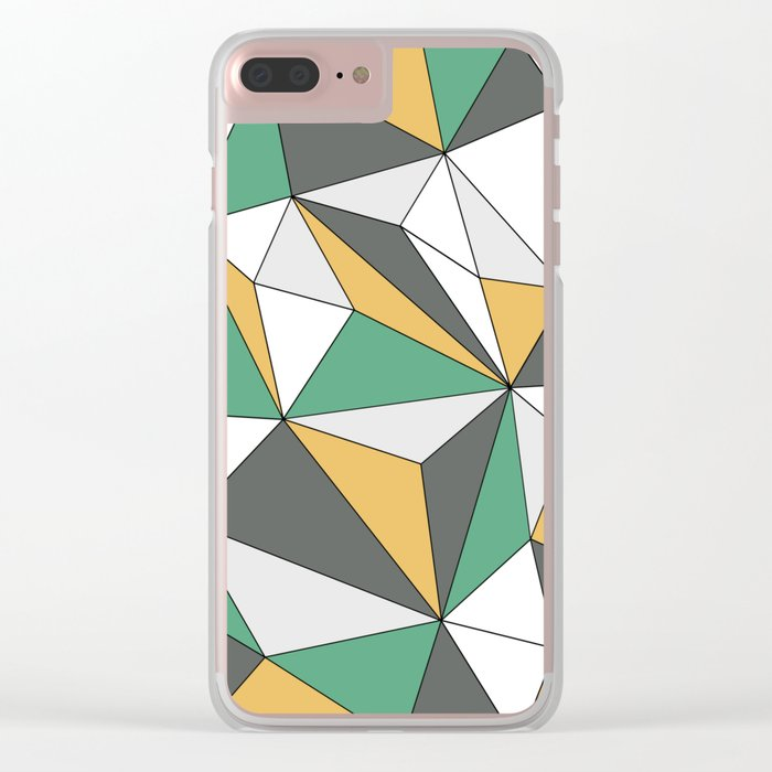 Geo - orange, green, gray and white. Clear iPhone Case