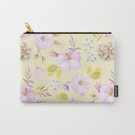 Modern hand painted pink lavender yellow watercolor floral Carry-All Pouch