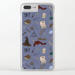 Wizard School Pattern Clear iPhone Case
