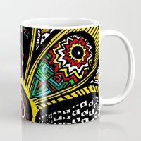 hippy Mugs featuring Patchwork Hippy Flower by Silvio Ledbetter