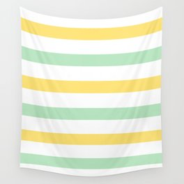 Yellow and Mint Stripes Wall Tapestry