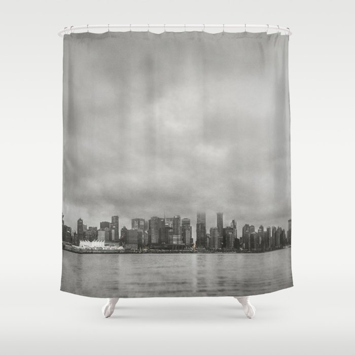 Vancouver Raincity Series - Raincity i - Moody Downtown Vancouver Cityscape Shower Curtain