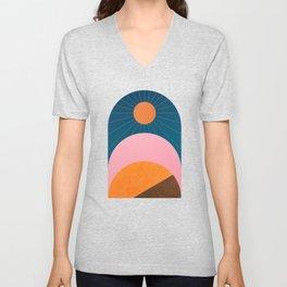 Abstraction_Sunshine_Minimalism_001 Unisex V-Neck