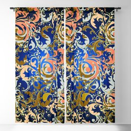 Red Blue Swirling Floral Blackout Curtain