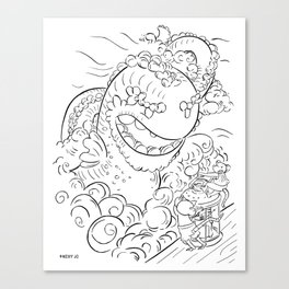 Sea Serpent - ink Canvas Print