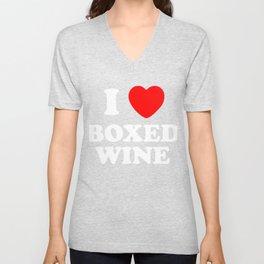 I Love Boxed Wine, Love Vino, Cheap Wine Lover T-Shirt Unisex V-Neck