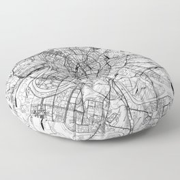 Moscow White Map Floor Pillow