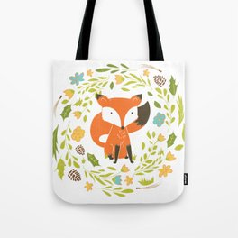 Woodland Fox illustration with cute floral wreath Tote Bag