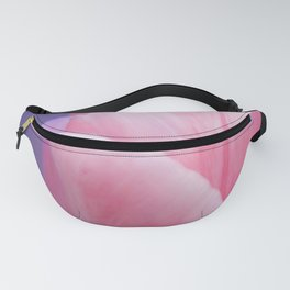 Romantic Pink Solo Tulip On Blue Background Fanny Pack
