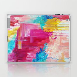 ELATED - Beautiful Bright Colorful Modern Abstract Painting Wild Rainbow Pastel Pink Color Laptop & iPad Skin