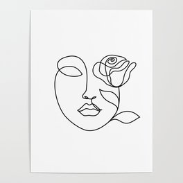 Beauty woman face with rose. Abstract minimal fine art. One line drawing. Poster