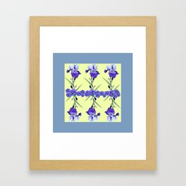 PURPLE WHITE IRIS & PANSIES GARDEN Framed Art Print