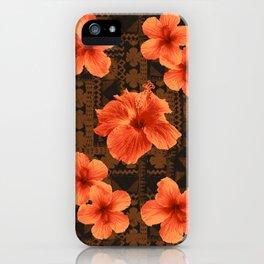 Kalalau Tapa Hawaiian Hibiscus Vintage Inspired Print iPhone Case