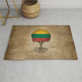 Vintage Tree of Life with Flag of Lithuania Rug