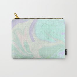 Violet Mint Marble. Digital Suminagashi Liquid Color Abstraction Carry-All Pouch