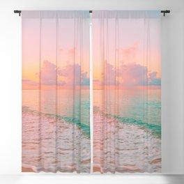 Beautiful: Aqua, Turquoise, Pink, Sunset Relaxing, Peaceful, Coastal Seashore Blackout Curtain