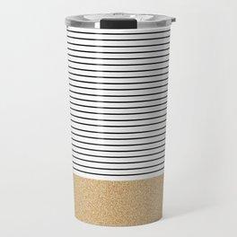 Minimal Gold Glitter Stripes Travel Mug