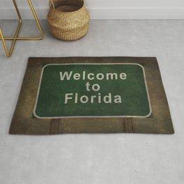 Welcome to Florida roadside sign illustration Rug
