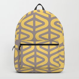 Mid Century Modern Split Triangle Pattern Gray and Yellow 2 Backpack