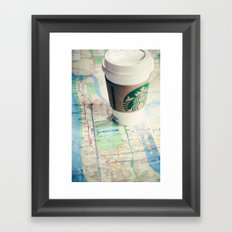 Manhattan and Starbucks Framed Art Print