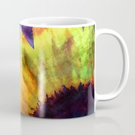 Sunflower Flower Floral on colorful watercolor texture Coffee Mug