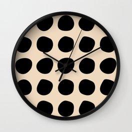 Irregular Polka Dots black and cream Wall Clock