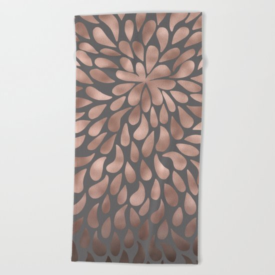 Rosegold- abstract floral elegant pattern on grey background Beach Towel
