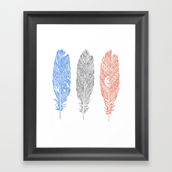 Patterned Plumes Framed Art Print
