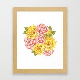 Pretty Watercolor Flowers Framed Art Print