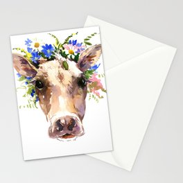 Cow Head, Floral Farm Animal Artwork farm house design, cattle Stationery Cards