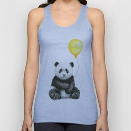 Panda Watercolor Animal with Yellow Balloon Nursery Baby Animals Unisex Tank Top